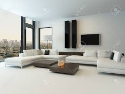 modern design sunny living room interior with white couch stock