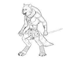 design and draw a model sheet of a werewolf warrior