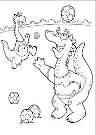 Little Dinosaurs Playing Soccer Coloring Page Download Print Soccer Coloring Page