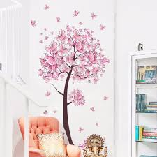 pink butterfly tree flowers vinyl wall sticker decal nursery kids pink butterfly tree flowers vinyl wall sticker decal nursery kids room decor diy