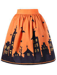 halloween graphic a line skirt orange m in skirts dresslily com