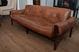 Leather And Wood Sofa 1960 S Mid Century Percival Lafer Leather Sofa With