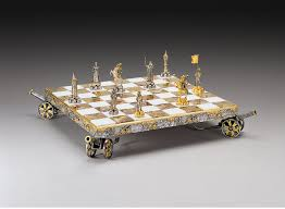 napoleon bonaparte emperor gold and silver theme chess set