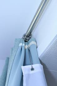 How To Hang Shower Curtain Bathroom Update Ceiling Mounted Shower Curtain Rod Turquoise