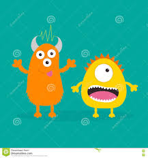halloween teeth yellow and orange monster with one eye teeth tongue funny cute