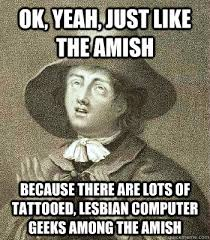 Computer Problems Meme - ok yeah just like the amish because there are lots of tattooed