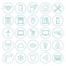 Smart Home Technology by Line Circle Smart Home Technology Icons Set Stock Vector Art