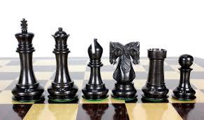 Chess Set Ebony Wood Twin Knight Staunton Wooden Chess Set Pieces 4 6