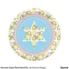 passover paper plates white matzah cover with hebrew text passover items and floral