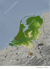 Map Of Netherlands Signs And Info Relief Map Of The Netherlands Stock Illustration