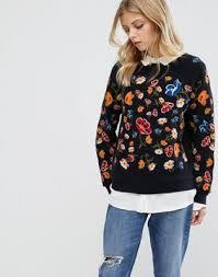 mychicpicks whistles embroidered flower sweatshirt find and