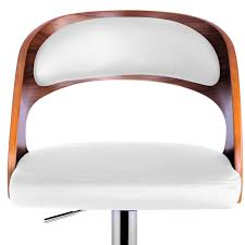single dining chair pu leather wooden kitchen bar stool white padded seat single