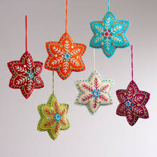 felt ornaments embroidered felt 6 pointed ornaments set of