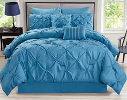 Blue Bed Set 8 Piece Rochelle Pinched Pleat Blue Comforter Set