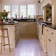 Kitchen Floorings Kitchen With Black Countertops And Porcelain Floor Tiles