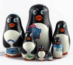 Penguin Home Decor Penguins Matryoshka Babushka Wood Home Decor Nesting Stacking