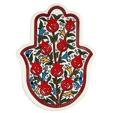 smiling pomegranates hamsa wall hanging armenian ceramic home