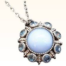 necklace metal images Vintage avon light blue moonglow rhinestone silvertone metal jpg