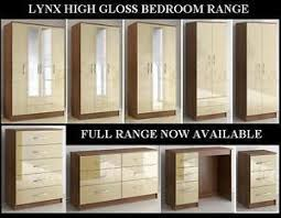 High Gloss Bedroom Furniture by New Fully Assembled Lynx Walnut And Cream High Gloss Bedroom
