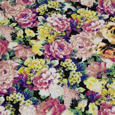 what is floral pattern in french black and yellow floral print french terry fabric 6800 blackyellow