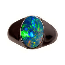 turquoise opal mens solitaire opal ring 14k wide band flashopal