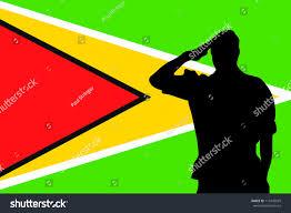 Guyana Flag Flag Guyana Silhouette Soldier Saluting Stock Vector 115445029