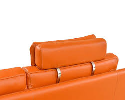 modern orange leather sectional sofa ef533 leather sectionals