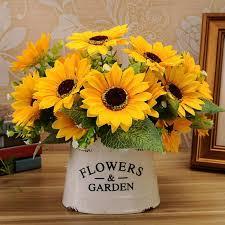 sunflowers decorations home 2018 sweet artificial sunflowers 1 bunch 7 heads sunflower