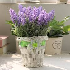 Lavender Home Decor 2016 Dried Lavender Flower Rattan Container Artificial Flowers For