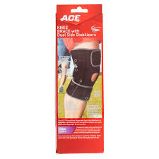 ace knee brace with dual side stabilizers and comfort fit sleeve