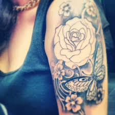half sleeve in process not finished yet roses butterfly s pretty