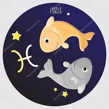 pisces zodiac color sign symbol cartoon illustration u2014 stock
