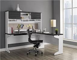 White L Shaped Desks Ameriwood Furniture Pursuit L Shaped Desk With Hutch Bundle Gray