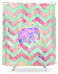 Shower Curtain Green Society6 Whimsical Purple Elephant Mint Green Pink Chevron Shower
