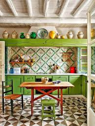 Mexican Kitchen Cabinets Eclectic Kitchen With Mexican Tile Backsplash U0026 Flush Light