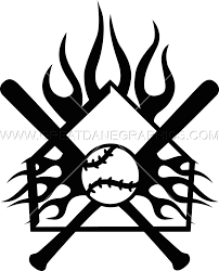 home plate flaming home plate crest production ready artwork for t shirt