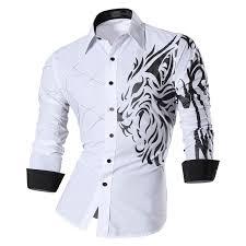 shirts men punk rock casual shirt new arrival long sleeve casual lion