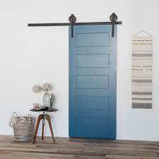 the 5 panel wood barn door is a more contemporary twist on old