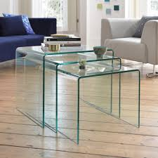 glass coffee table nest puro glass nest of tables clear dwell