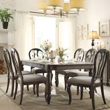 belmeade wood rectangular dining table and chairs in old world oak