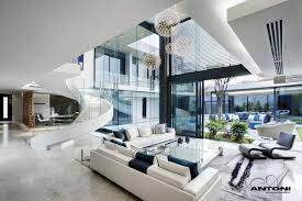 Modern Home Living Room Pictures Interior Modern Mansion With White Furnitures At Living Room And