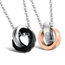 couples necklace stainless steel interlocking rings couples necklace pendant