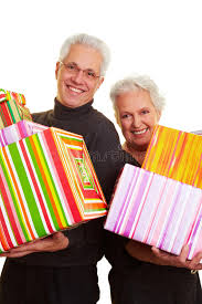 senior citizens gifts two senior citizens with gifts stock photos image 12901523