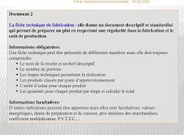 fiche technique de fabrication cuisine collective thème l approvisionnement et le stockage en restauration pdf