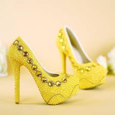 designer stiletto heels 2017 new designer yellow bridal shoes handmade pearl wedding