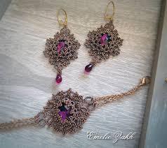 Chandelier Beaded Earrings White Bead Tatting Lace Chandelier Earrings And Bracelet Bronze Frivolite