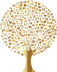 clipart abstract icons tree gold