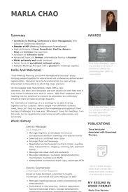 Sample Resume Event Coordinator Events Manager Resume Samples Visualcv Resume Samples Database