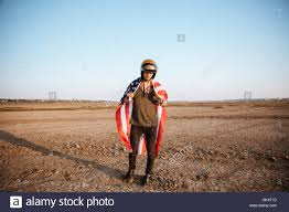 Flag Cape Young Brutal Man Wearing American Flag Cape And Golden Helmet
