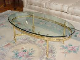 ethan allen glass coffee table ethan allen oval classic glass brass table mint foundvalue